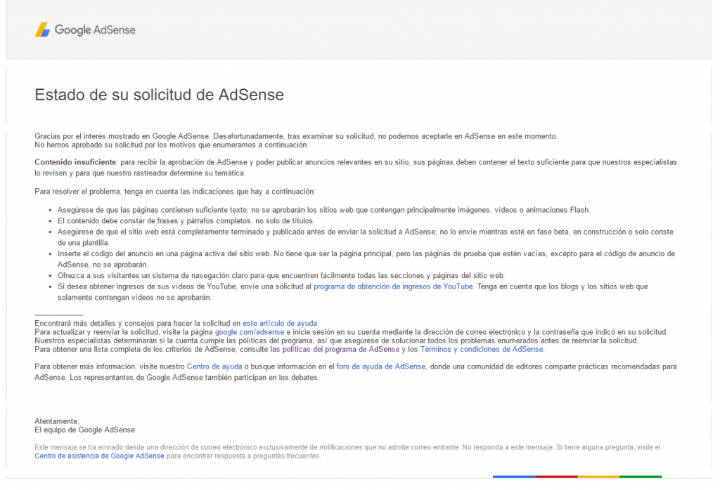requisitos de Adsense